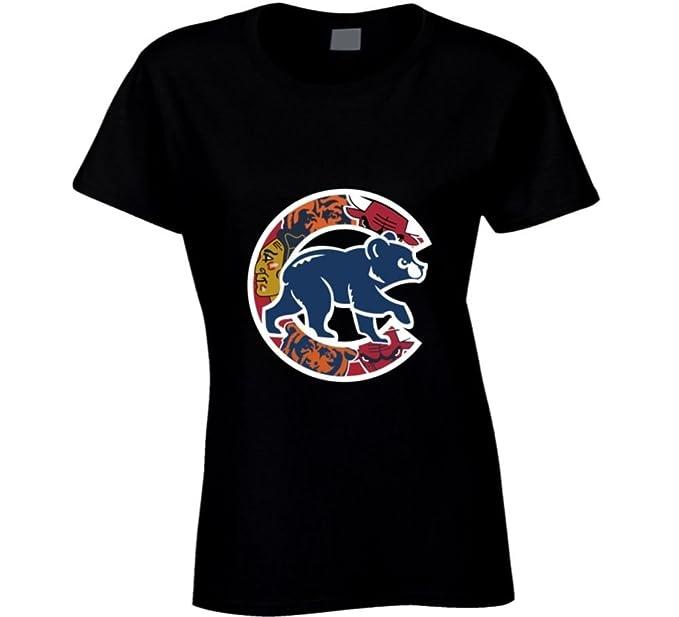 15630d69de9f2 Chicago Cubs camiseta para mujer bajera equipos de Chicago Bulls camiseta  los osos Blackhawks  Amazon.es  Ropa y accesorios