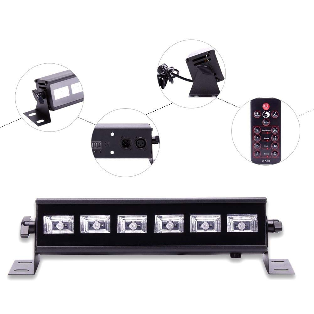 U`King Black Light Bar 6 LED x 3W for Glow Parties by RF Remote Control and DMX Controller by U`King (Image #7)