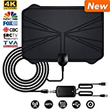 HDTV Antenna, Tmily 2018 Amplified HD Digital TV Antenna Up to 60 Miles Range – Support 4K 1080p TV Channels Free of Charge, with Powerful HDTV Amplifier Signal Booster, Black