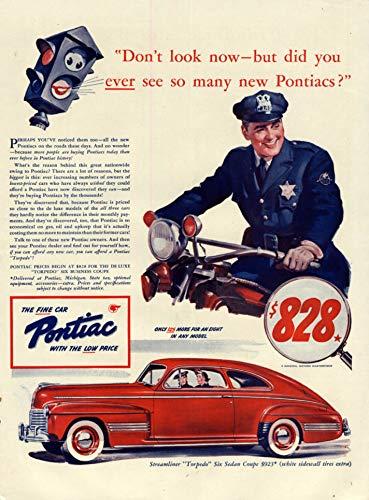 1941 Sedan - Did you ever see so many new Pontiac Torpedo Sedans? 1941 motorcycle cop L