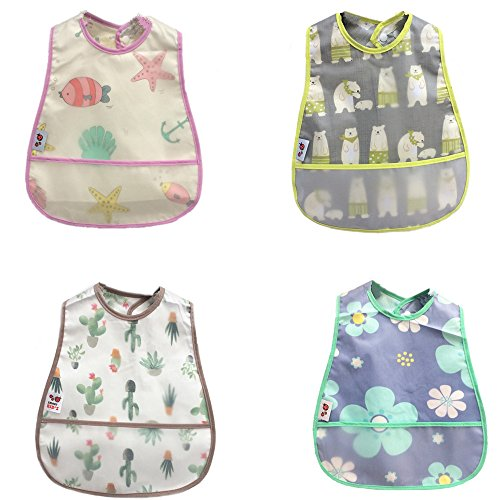 Baby Waterproof Bib with Crumb Catcher Pocket,4 Pack Comfortable Soft Adjustable Snaps Feeding Bibs For Infants and Toddlers