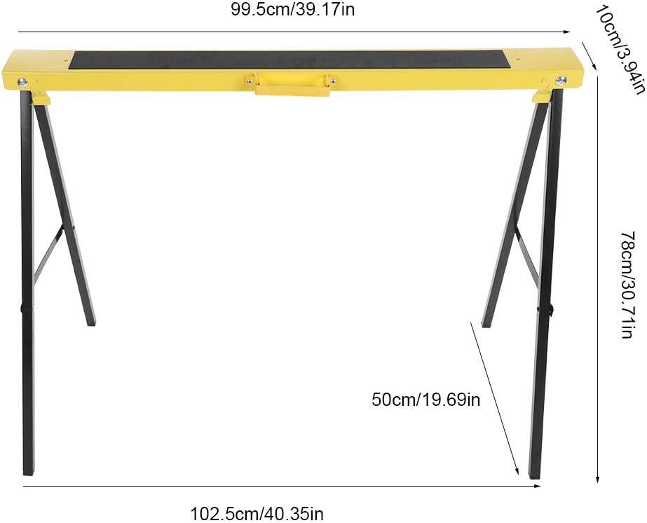 marco de acero port/átil con antideslizante para taller Caballete de trabajo pesado mejora de bricolaje hogar caballetes de trabajo caballete plegable para caballos 2 bancos de trabajo