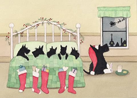 Scottish terrier (scottie) family all tucked in for Santa / Lynch signed folk art print - Scottie Dog Art