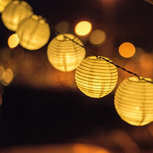 Solar Powered Lanterns String Lights - Outdoor Lighting - 25 LED Globe Lights Per String - 20 Feet (Outdoor Paper)