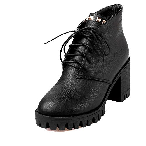 Mujeres Redonda Caña Puntera Tacón Baja AllhqFashion Cordones Botas Negro Alto Sólido dxwfqZYp