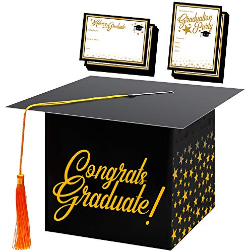 Congrats Graduation Cap Card Box w/72 Cards and Envelopes for Invitation and Advice Cards, College University High School Grad Party Supplies, Table 2019 Decoration Kit and Black and Gold Party Favors -