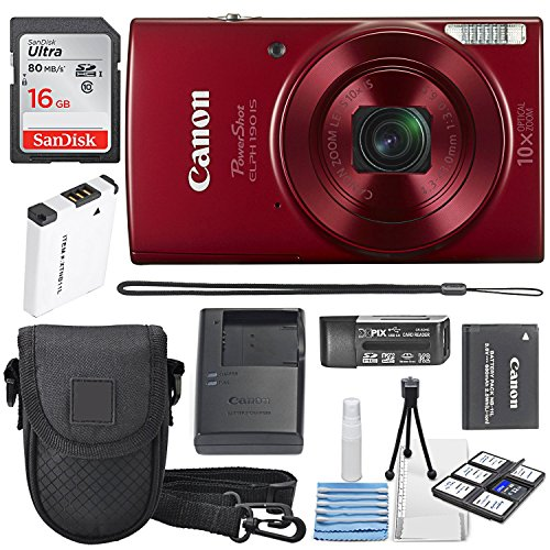 (Canon PowerShot ELPH 190 IS Digital Camera (Red) with 10x Optical Zoom and Built-In Wi-Fi with 16GB SDHC + Replacement battery + Protective camera case Along with Deluxe Cleaning Bundle)