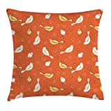 Ambesonne Orange Decor Throw Pillow Cushion Cover, Birds with Heart Shapes and Swirling Patterns on Burnt Vintage Back, Decorative Square Accent Pillow Case, 16 X 16 inches, Orange Yellow White