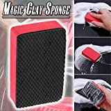 SayhrMagic Clay Sponge Bar Car Pad Block Cleaning Eraser Wax Polish Pad Tool Red