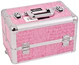 Craft Accents Professional Aluminum Cosmetic Makeup Case, Pink Crocodile, 128 Ounce