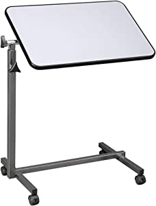 OMECAL Overbed Table w/Wheels, Adjustable Bedside Sofa Side Table Rolling Laptop Computer Desk Food Tray Table w/Tilting Top, for Home, Gray
