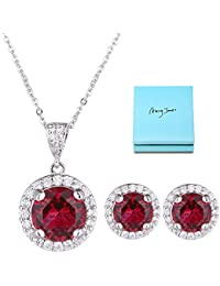 Halo Crystal Jewelry Set - Sterling Silver Round Cubic...