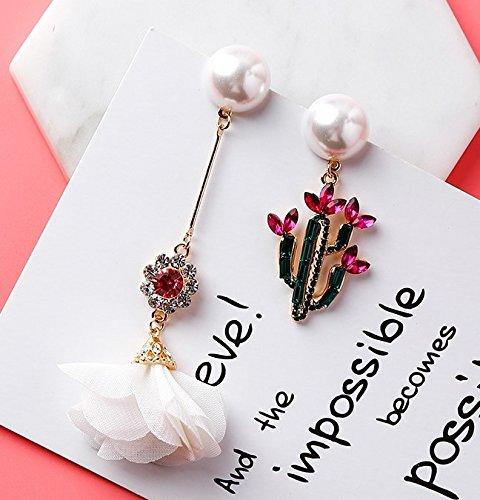 usongs Korea 925 Silver Needle Cactus Flower diamond exaggerated chiffon asymmetrical earrings earrings fabric women girls 294