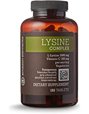 Amazon Elements Lysine Complex with Vitamin C, 1500 mg L-Lysine with 100 mg Vitamin C per Serving (3 Tablets), Vegetarian, 195 Tablets