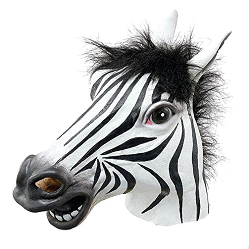 Halloween Costumes Latex Horse Animal Head Mask, Zebra - Really Cool Superhero Costumes