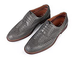 Ferro Aldo Men Classic WingTip Leather Lining Perforated Oxford Shoes (8.5, Camel Brown)