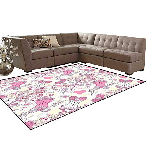 Girls Anti-Skid Area Rugs Old-Fashioned Female Sexy Corset Accessories Vintage Girls Room Floral Design Print Customize Door mats for Home Mat 6'x8' Pink Beige