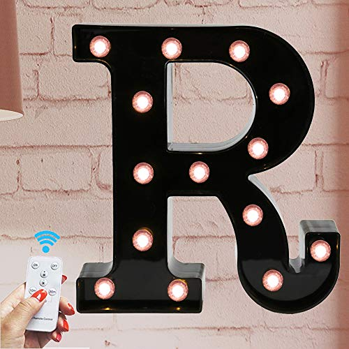Oycbuzo Marquee Letter Sign Lights - Light Up Black Letters Home Decor Name Signs - Battery Operated LED Remote Timer - Lighted Vintage Accessories & Decorations R (Decor For Wall Letters Vintage)