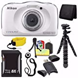 Nikon COOLPIX S33 Digital Camera (White) (International Model) + 16GB SDHC Card + Floating Strap + Mini Flexible Tripod + Card Reader + Card Wallet + Lens Cap Keeper + Saver Bundle