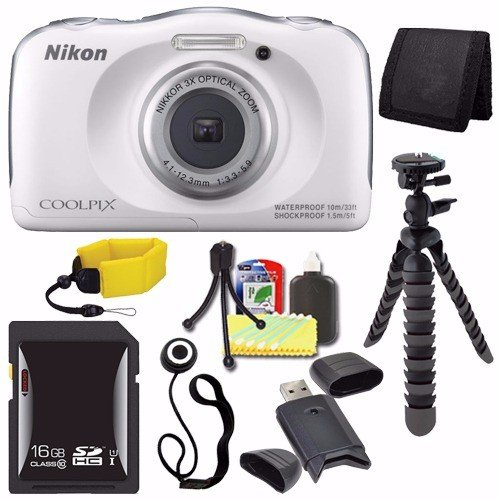 Nikon COOLPIX S33 Digital Camera (White) (International Model) + 16GB SDHC Card + Floating Strap + Mini Flexible Tripod + Card Reader + Card Wallet + Lens Cap Keeper + Saver Bundle