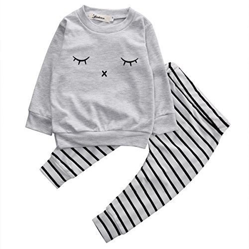 Striped Eyelash (Baby Boy Girl 2pcs Set Outfit Eyelash Print Long Sleeve Top+Striped Long Pants (0-3months, Gray))