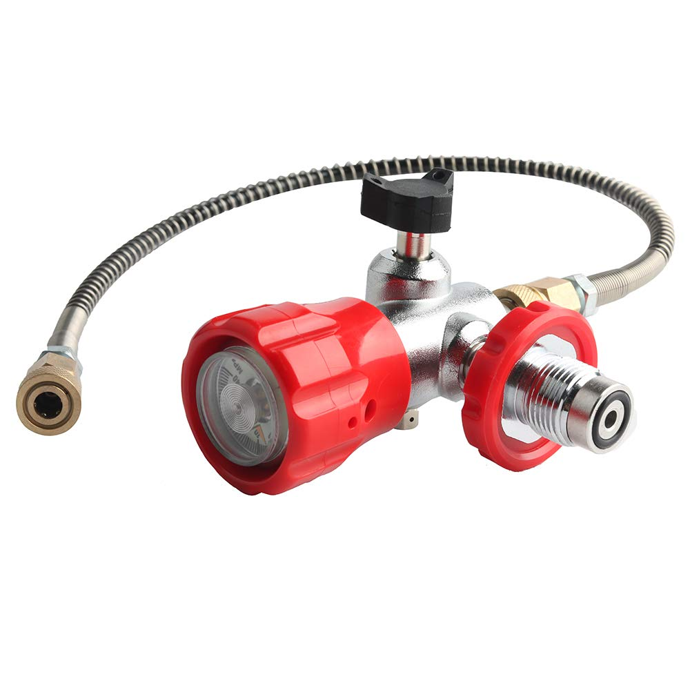 IORMAN 300bar / 4500psi PCP Paintball Fill Station, G 5/8 Male Thread, 8mm Quick Disconnet Adapter, DIN Type Valve Gauge & Hose Charging System (Red) by IORMAN