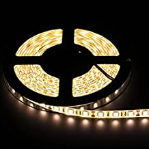 EPBOWPT®16.4FT 5M SMD 5050 Waterproof IP65 300LEDs 3000K Flash Bright Led Strip Lights Warm white, LED Flexible Ribbon Lighting Strip with 12v 5a Power Supply for New Year Holiday Home Decoration