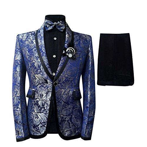 Cloudstyle Men's Plaid Tuxedo Casual Dress Suit Slim Fit Jacket & Trouser (Large) by Cloudstyle