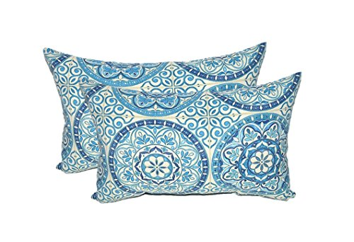Set of 2 - Indoor / Outdoor Rectangle / Lumbar Decorative Throw / Toss Pillows ~ Wheel Indigo - Blue Ivory Large Sundial