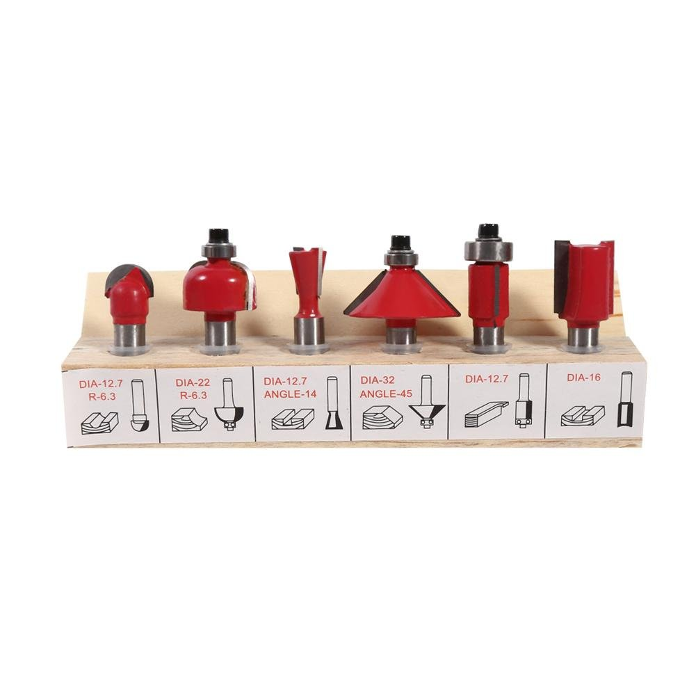MDF Board Hardwood and Softwood 12pcs Router Bits,8mm Shank Cemented Suitable for Chipboard