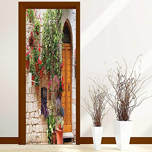 Waterproof Door Stickers Collection Begonia Blooming in Box and Wooden Shutters on Brick Wall in Italy for Home Living Room W36 x H79 inch