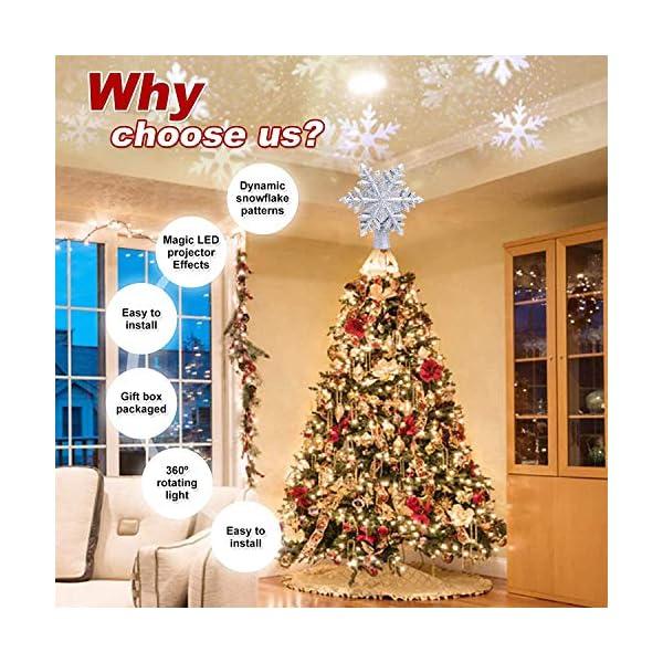 lluminazione di Natale 3D Hollow Stella di Natale Puntale dell'albero di Natale Fiocco di Neve luci del proiettore a LED per Natale Decorazione dell'albero di Natale Home Decor Partito (Argento) 3 spesavip
