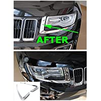 Nicebee Headlights Trim Cover Bezel Chrome ABS For Jeep Grand Cherokee 2014-2016