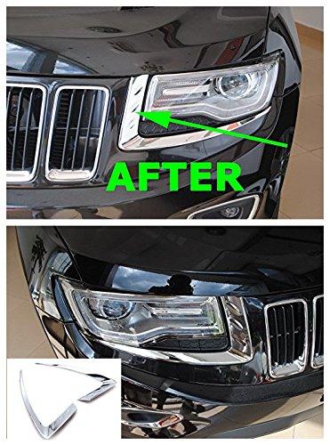 Nicebee Headlights Trim Cover Bezel Chrome ABS For Jeep Grand Cherokee 2014-2016 - Jeep Cherokee Chrome Headlight Trim