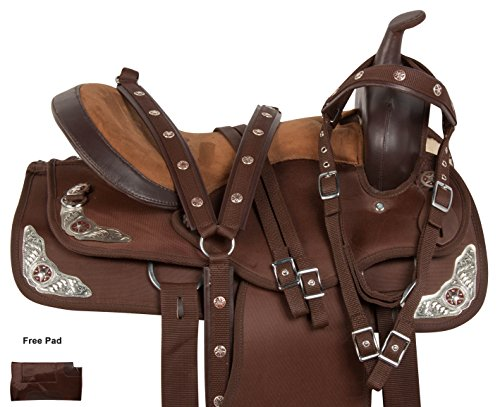 Western Riding Saddle Set - AceRugs Texas Silver Western Pleasure Trail Show Horse Barrel Saddle TACK Set Comfy (15)