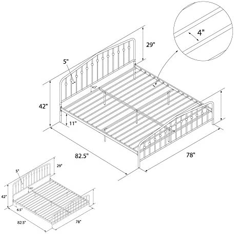 Novogratz Bushwick Metal Bed with Headboard and Footboard | Modern Design | King Size – Black 516pozk6XML