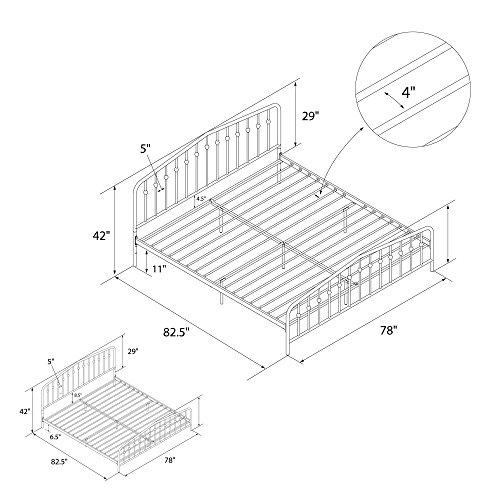 516pozk6XML - Novogratz Bushwick Metal Bed, Modern Design, Full Size - Black