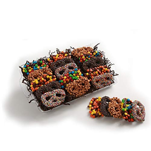 Assorted Milk Chocolate Covered Pretzels Gift Tray, 15 count, Rainbow Sprinkles, Dark Chocolate Chips, Peanut Butter Chips, M&M's, Peanut Butter Candy Shell