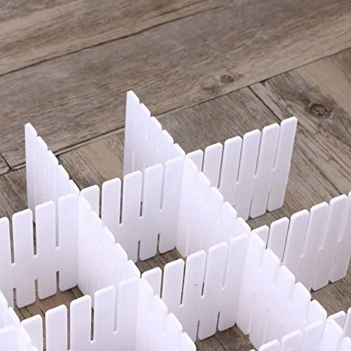 OUNONA Divisores del organizador del caj/ón pl/ástico de DIY para el almacenamiento del aparador StoraCloset Calcetines del maquillaje de la ropa interior Bufandas caseras ordenadas 32.2 x 7cm 8PCS blanco
