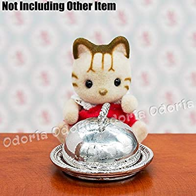 Odoria 1:12 Miniature Sliver Serving Plate Dish with Lid Dollhouse Kitchen Accessories: Toys & Games