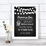 Chalk Style Black & White Lights Popcorn Bar Personalized Wedding Sign
