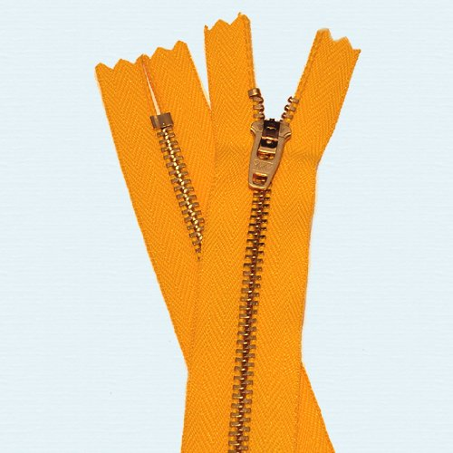 Brass Pant Zipper - YKK #4.5 Pants with Locking Slide ~ Closed End (Select Length/color) (Length 4 inch, 523 - Orange) (Closed End Zipper)