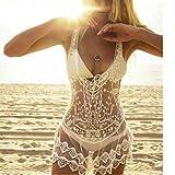 COSYOU Womens Beige Lace Crochet Tunic Cover Up Crochet Summer Dress