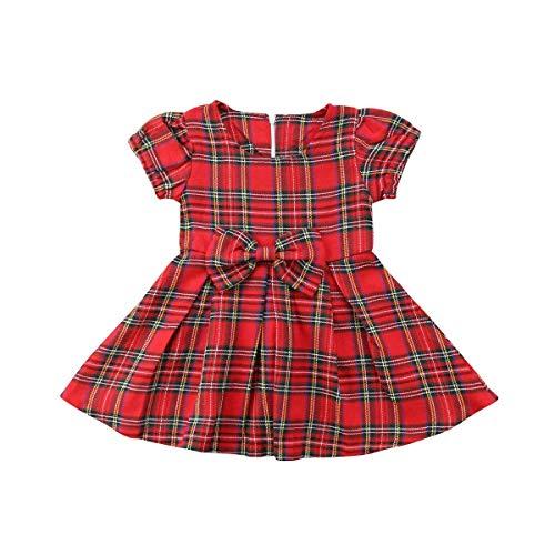 MILWAY Baby Girls Christmas Plaid Skirt Tutu Bow Dress (70/0-6 Months, - Girl Dress Christmas Baby