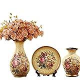 Porcelain Ceramic 3 piece set Vases living room home furnishing decoration wedding gift flower jardiniere flowerpot V35 (4 Golden with 4 Bouquets)