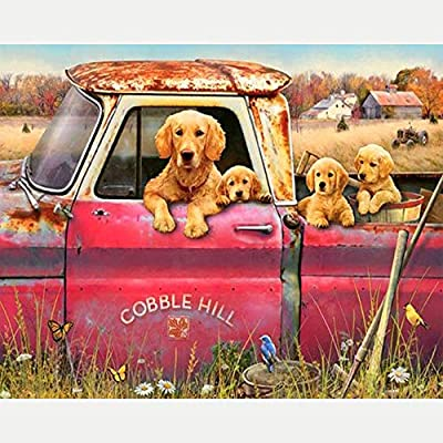 Diy Oil Painting Paint By Number Kit For Adult Kids - Painted Rural Dog And Car,16X20 Inch: Everything Else
