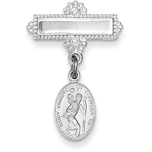 Saint Christopher Medal Pin (Sterling Silver Saint Christopher Medal Pin - (0.98 in x 0.71 in))