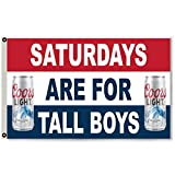 Flylong Saturdays are for tall Boys Coors Light Beer Flag Banner Man Cave 3x5Feet