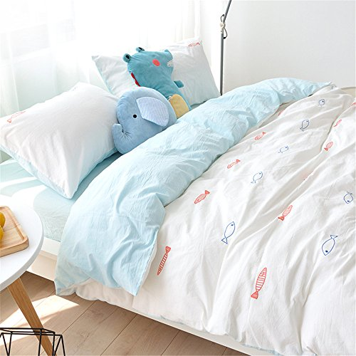Auvoau Home Textiles White 100% Cotton Hand Embroidery Little Fish Duvet Cover Set,Blue Flat Sheet Twin Queen King Size,4Pcs (Queen, 1)
