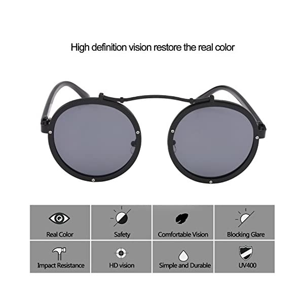 Steampunk Round Men Metal Driving Circle Sun Glasses Women Vintage Retro Sunglasses 5